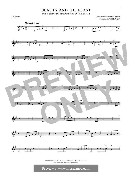 Beauty and the Beast (Celine Dion and Peabo Bryson): For trumpet by Alan Menken