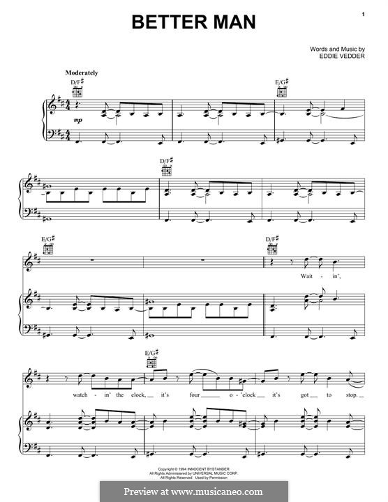 Better Man Pearl Jam By E Vedder Sheet Music On Musicaneo