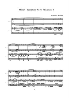 Symphony No.41 in C Major 'Jupiter', K.551: Movement IV, for two pianos four hands by Wolfgang Amadeus Mozart