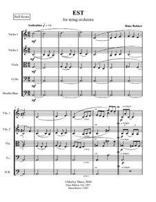 Est for string orchestra: Score by Hans Bakker