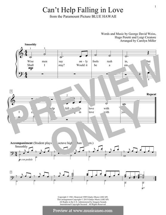 can t help falling in love piano sheet pdf