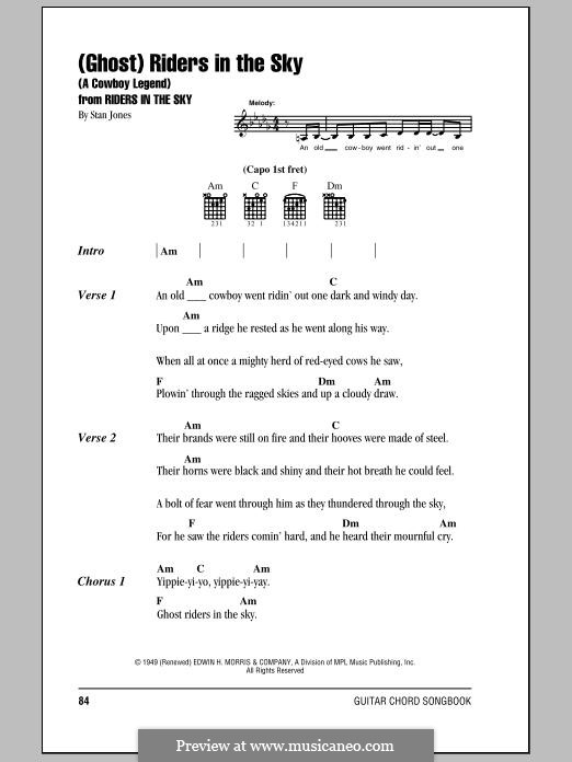 (Ghost) Riders in the Sky (A Cowboy Legend): Lyrics and chords by Stan Jones