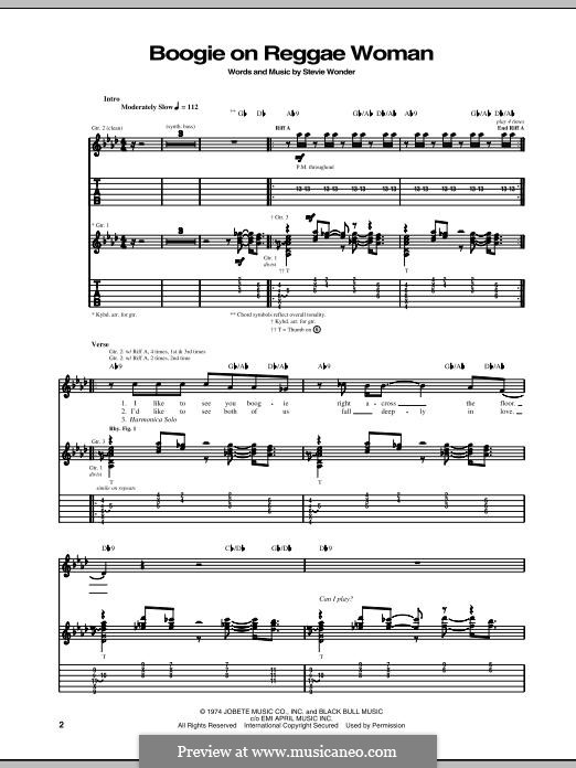 boogie on reggae woman by s wonder sheet music on musicaneo. Black Bedroom Furniture Sets. Home Design Ideas