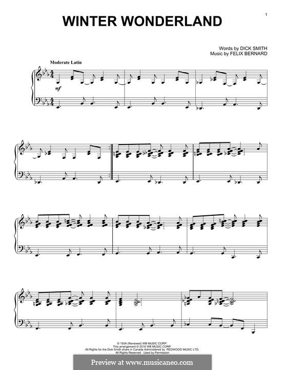 Piano piano chords winter wonderland : Winter Wonderland (Johnny Mathis) by F. Bernard - sheet music on ...