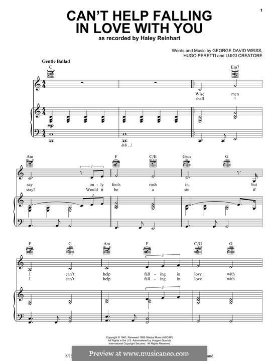 Can 39 T Help Falling In Love Elvis Presley By G D Weiss