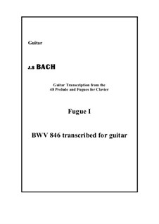 Prelude and Fugue No.1 in C Major, BWV 846: Fugue 1, for guitar by Johann Sebastian Bach