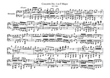 Brandenburg Concerto No.1 in F Major, BWV 1046: Arrangement for piano four hands – parts by Johann Sebastian Bach