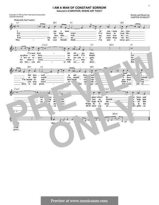 Mandolin u00bb Mandolin Tabs Man Of Constant Sorrow - Music Sheets, Tablature, Chords and Lyrics