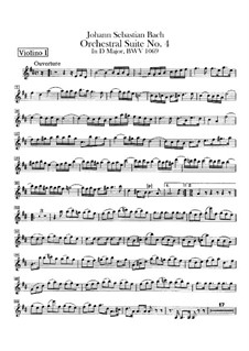 Orchestral Suite No.4 in D Major, BWV 1069: Violin I part by Johann Sebastian Bach