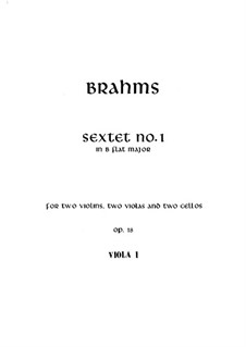 String Sextet No.1 in B Flat Major, Op.18: Viola I part by Johannes Brahms