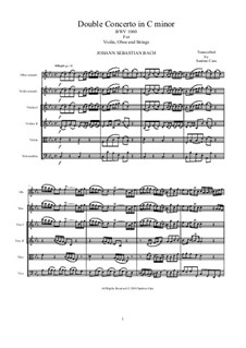 Concerto for Violin, Oboe and Strings No.1 in C Minor, BWV 1060r: Score, parts by Johann Sebastian Bach