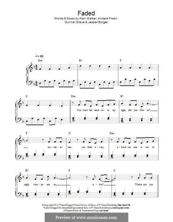Faded: For piano by Alan Walker, Anders Froen, Gunnar Greve, Jesper Borgen