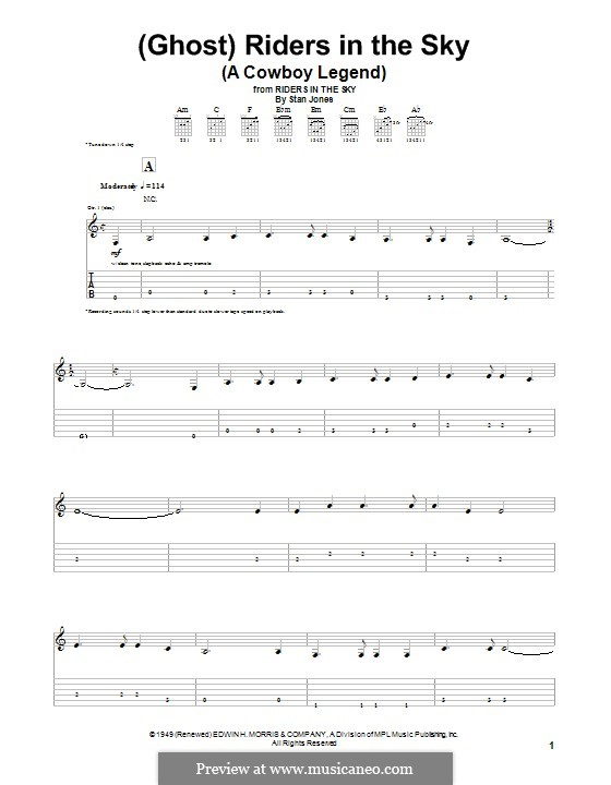 (Ghost) Riders in the Sky (A Cowboy Legend): For guitar with tab by Stan Jones