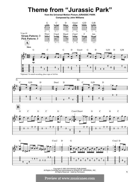 Theme from Jurassic Park by J. Williams - sheet music on MusicaNeo