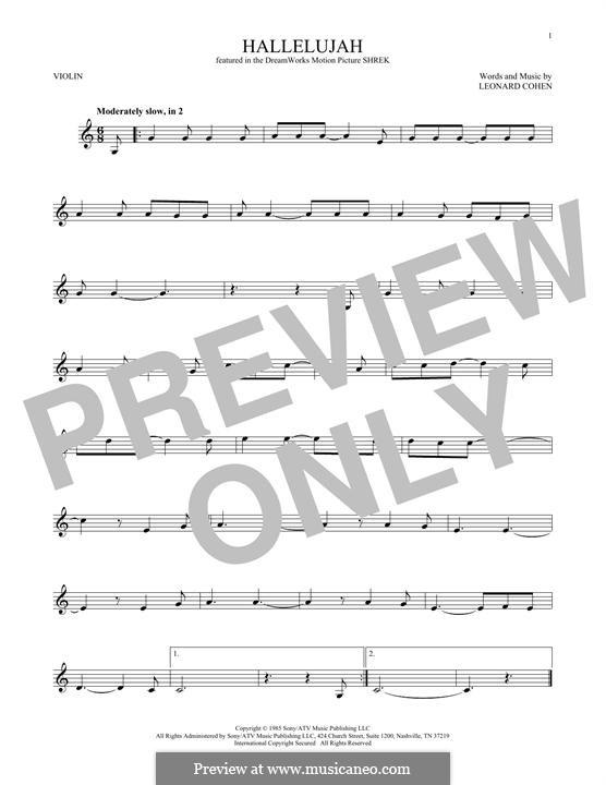 Hallelujah: For violin by Leonard Cohen