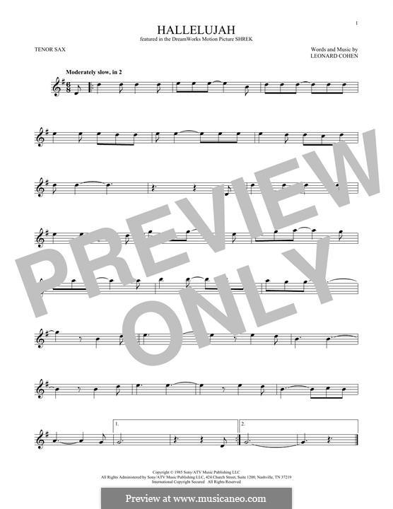 Hallelujah: For tenor saxophone by Leonard Cohen
