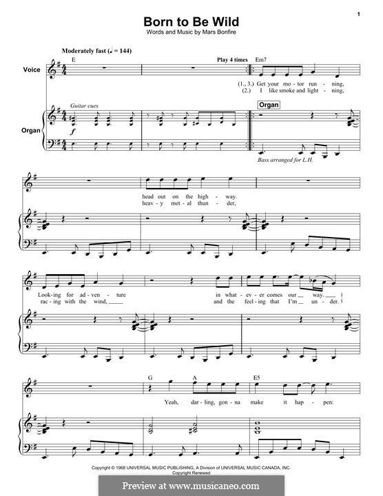 born to be wild sheet music pdf