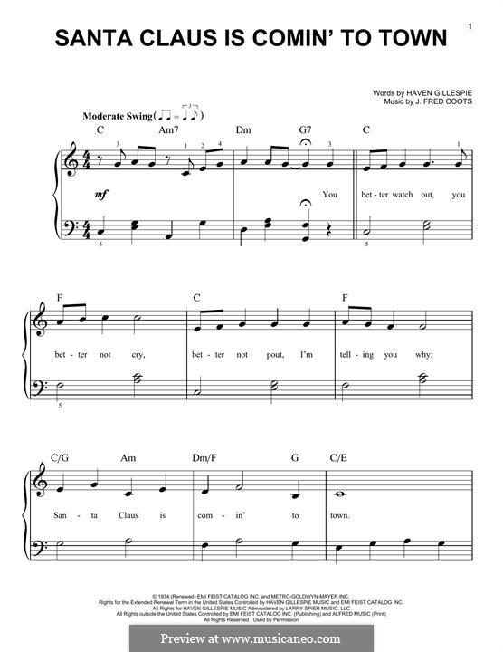 santa claus is coming to town piano sheet music pdf