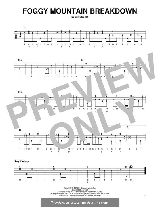 Foggy Mountain Breakdown by E. Scruggs - sheet music on MusicaNeo