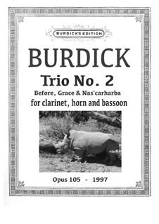 Trio No.5 'Before, Grace & Nas'carharba' for clarinet, horn & bassoon, Op.105: Trio No.5 'Before, Grace & Nas'carharba' for clarinet, horn & bassoon by Richard Burdick