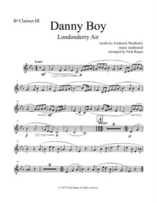 Danny Boy (Londonderry Air): For clarinet quintet - B flat clarinet III part by folklore
