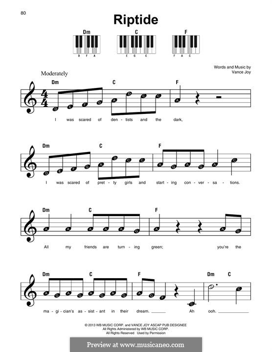 Riptide by Vance Joy - sheet music on MusicaNeo
