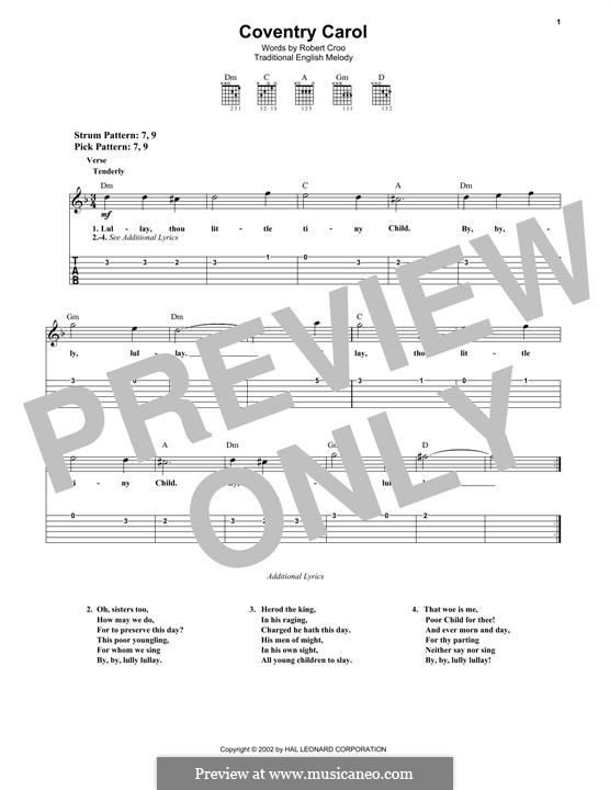 Coventry Carol: For guitar with tab by folklore