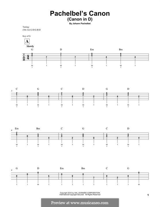 Canon in D Major: For banjo by Johann Pachelbel