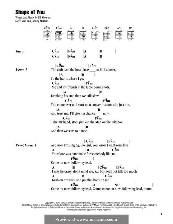Shape of You: Melody line by Ed Sheeran, Steve Mac, John McDaid