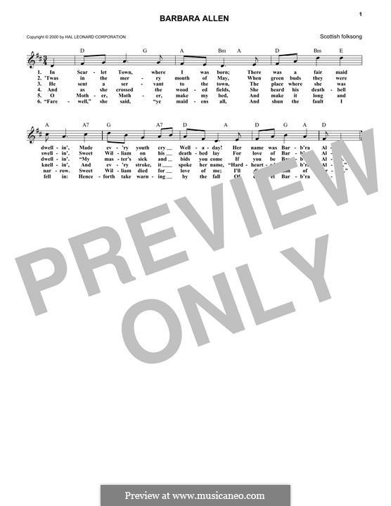 Barbara Allen: Melody line by folklore