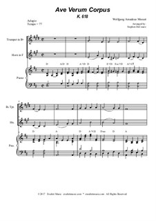 Ave verum corpus, K.618: Duet for Bb-trumpet and french horn - piano accompaniment by Wolfgang Amadeus Mozart