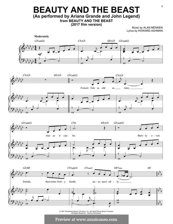 Beauty and the Beast (Celine Dion and Peabo Bryson): For voice and piano (or guitar) by Alan Menken