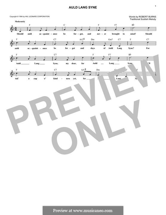 Auld Lang Syne: Melody line by folklore