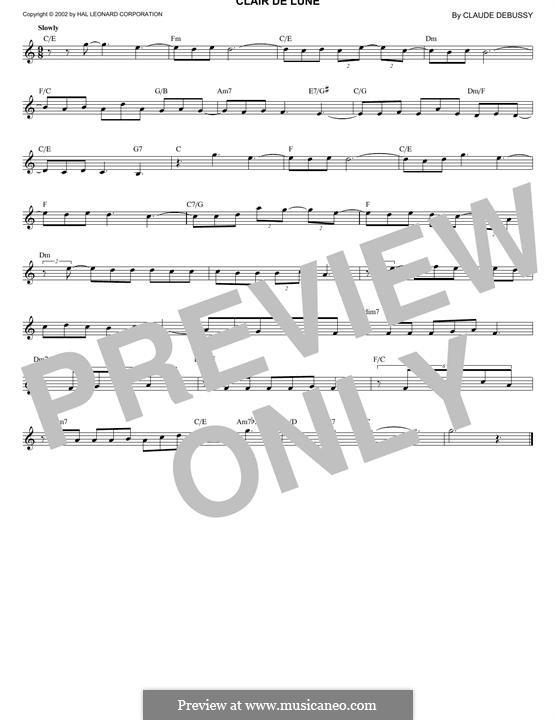No.3 Clair de lune: Melody line by Claude Debussy