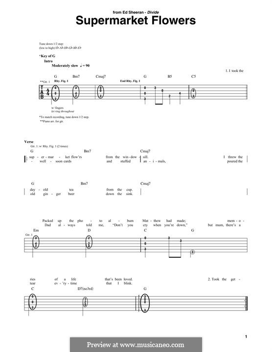 Supermarket Flowers: For guitar with tab by Ed Sheeran, Benjamin Levin, John McDaid