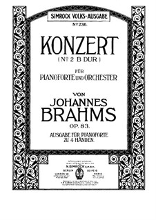 Concerto for Piano and Orchestra No.2 in B Flat Major, Op.83: Version for piano four hands by Johannes Brahms