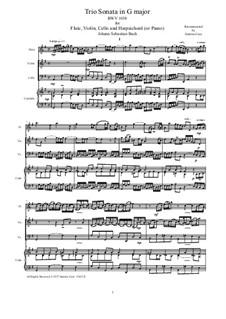 Sonata for Flute, Violin and Harpsichord in G Major, BWV 1038: Full score, parts by Johann Sebastian Bach