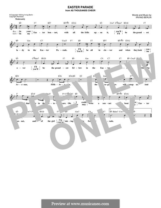 Easter Parade: Melody line by Irving Berlin