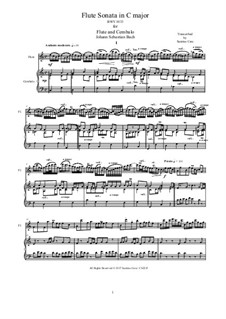 Sonata for Flute and Basso Continuo No.1 in C Major, BWV 1033: Score by Johann Sebastian Bach