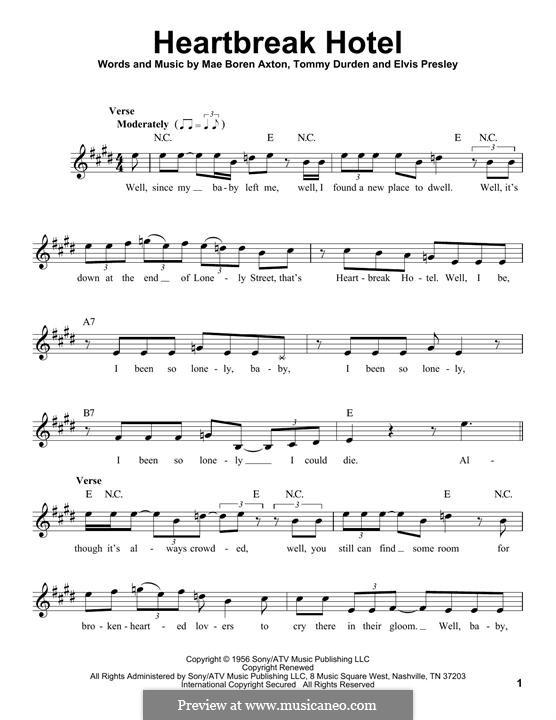 Heartbreak Hotel (Elvis Presley): Melody line by Mae Boren Axton, Tommy Durden