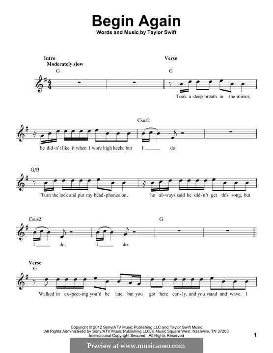 Begin Again: Melody line by Taylor Swift