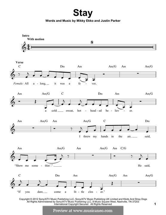 Stay (Rihanna): Melody line by Justin Parker, Elof Loelv, Mikky Ekko