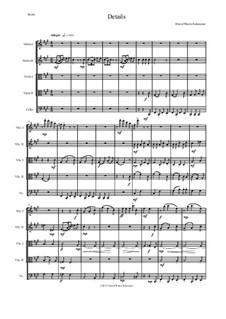 Details: For string quintet (2 violins, 2 violas, 1 cello) by David W Solomons