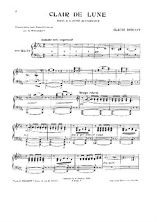 No.3 Clair de lune, for Piano: Version for piano four hands by Claude Debussy