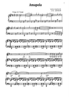 Amapola (Pretty Little Poppy): For voice and piano by Joseph M. Lacalle