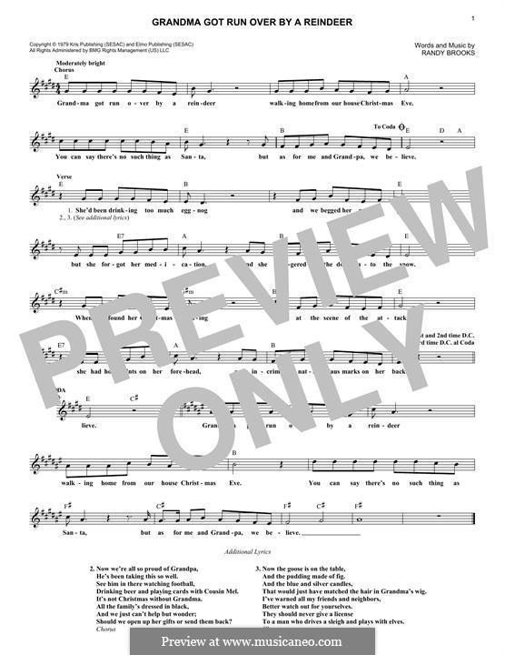 Grandma Got Run Over By a Reindeer by R. Brooks - sheet music on MusicaNeo