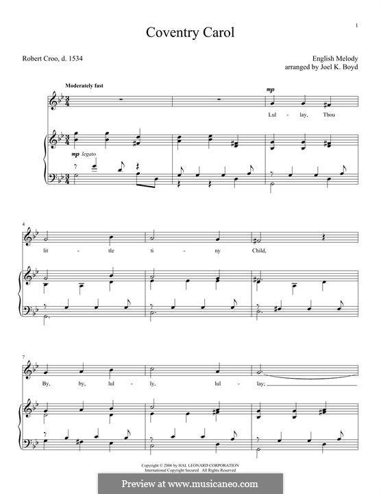 Coventry Carol: For voice and piano by folklore