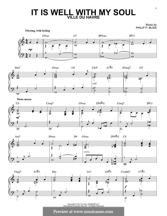 It Is Well with My Soul: For piano by Philip Paul Bliss