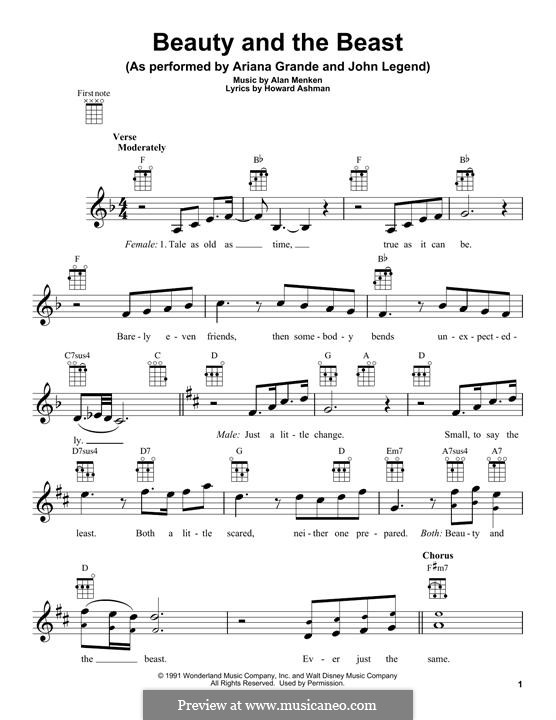 Beauty and the Beast (Celine Dion and Peabo Bryson): For ukulele by Alan Menken