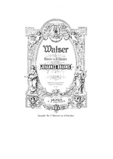 Waltzes No.1, 2, 11, 14, 15: Arrangement for two pianos four hands by Johannes Brahms